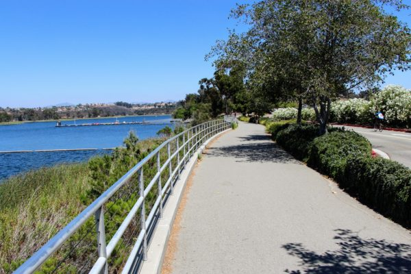 Pathway along Lake Miramar, sunny day, blue water to the left with trees straight ahead and in the distance.