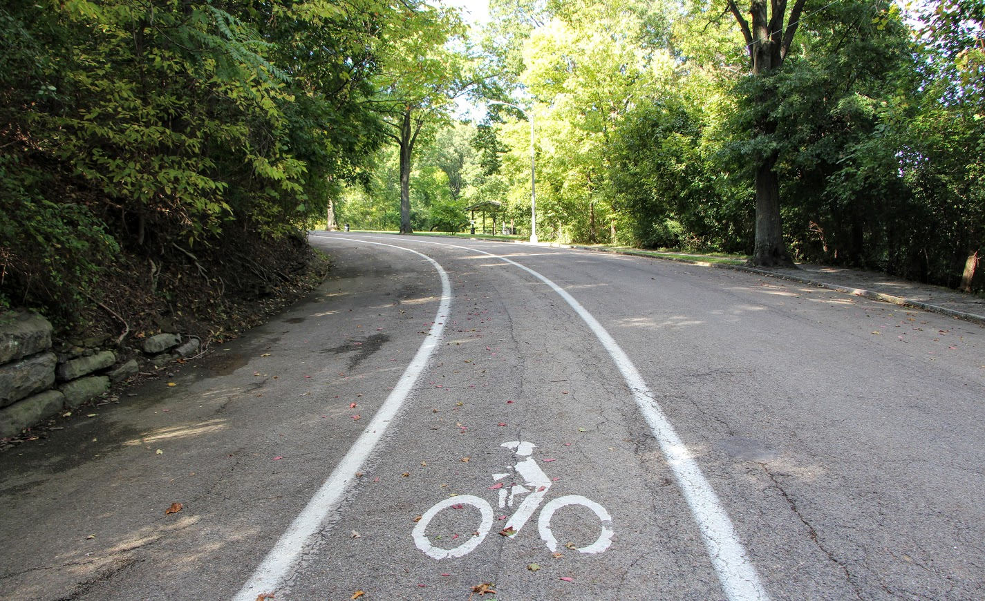 Bike Lane Winding Around Highland Park Reservoir Drive